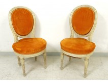 Pair Louis XVI chairs wood carved lacquered medallion case 18th century