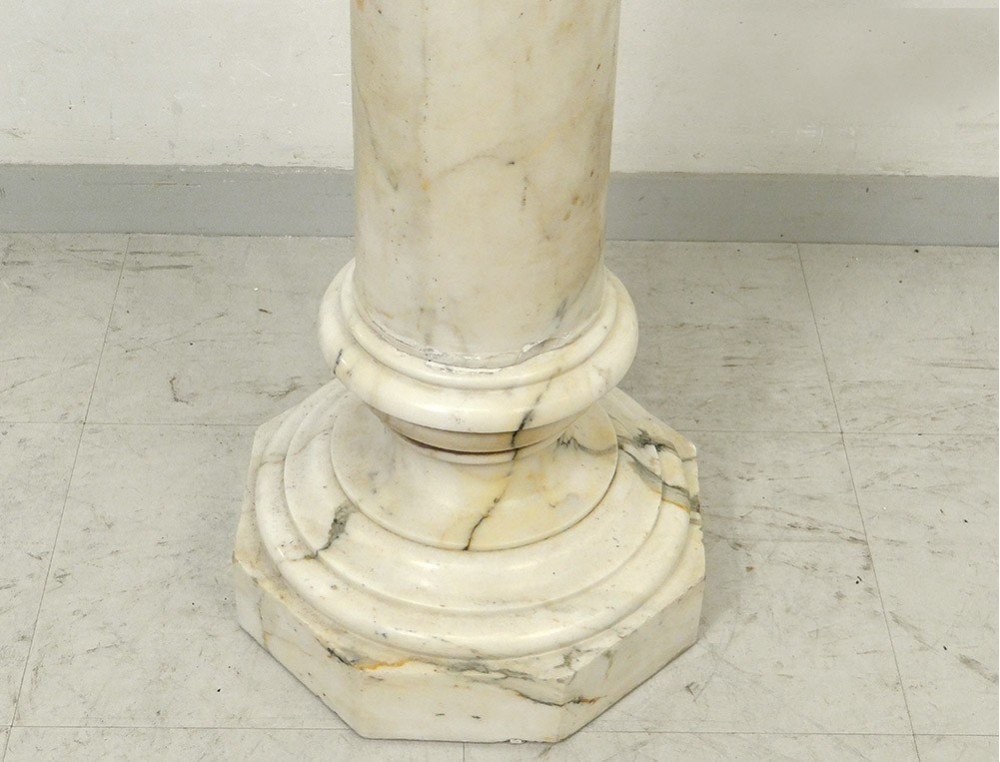 Column Decorative Support Sculpture Saddle White Marble