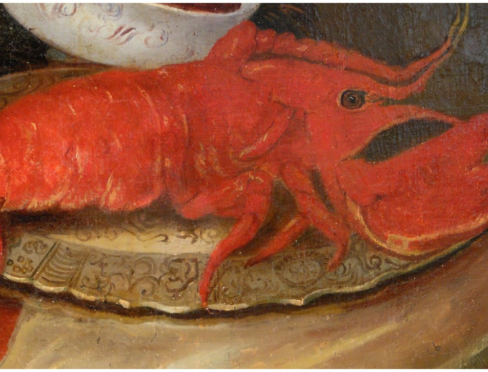 Hst Painting Still Life With Lobster Eighteenth Boar Peacock
