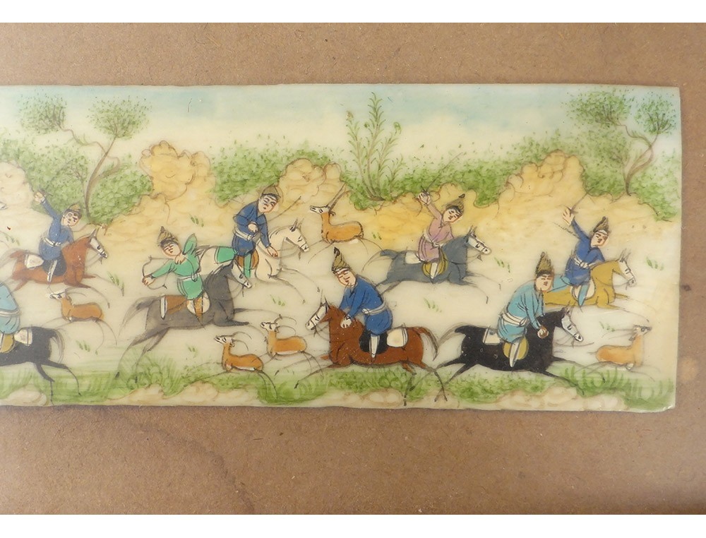 Miniature Ivory Perse India Characters Horses Polo Frame