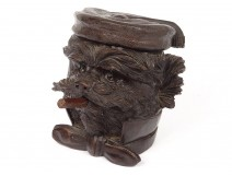 Tobacco box carved wood Black Forest head dog cigar knot XIXth century