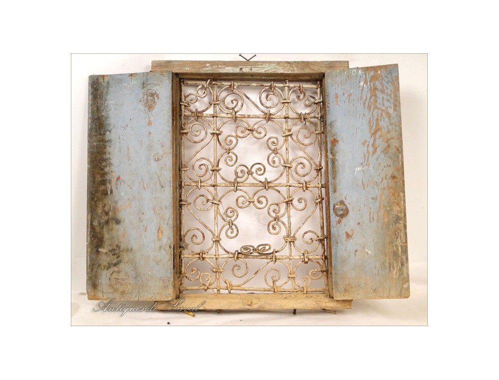 Moroccan Windows Wrought Iron Gate Painted Wood Twentieth