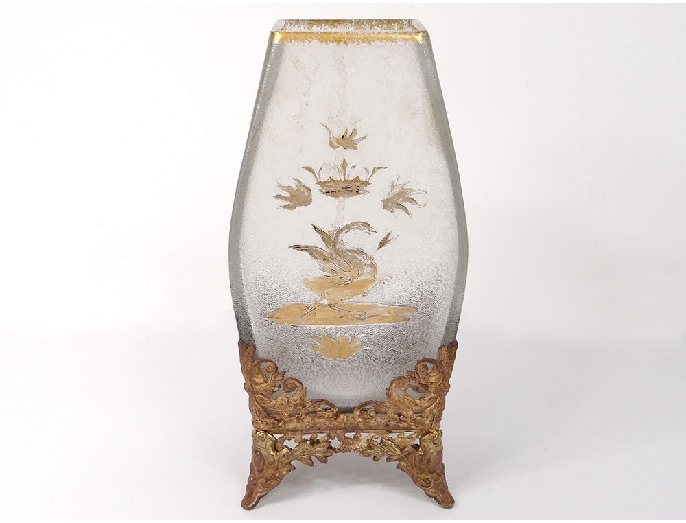 Frosted Crystal Vase Baccarat Gilding Swan Crown Brass Art Nouveau