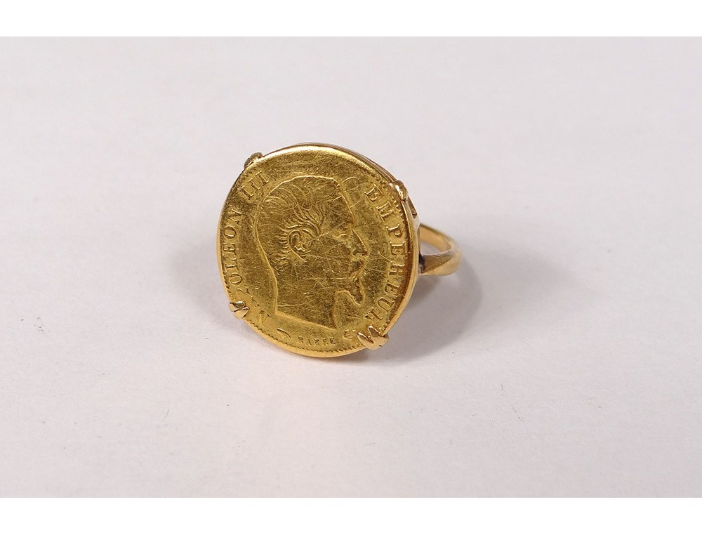 Gold Coin 20 Francs 1854 Emperor Napoleon Iii Bare Head