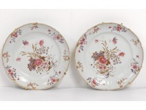 Pair dishes hollow porcelain Company Indes family pink butterfly XVIII