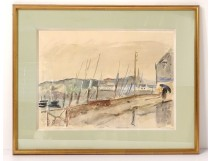 Watercolor René Levrel marine port quays boats watercolor 20th century