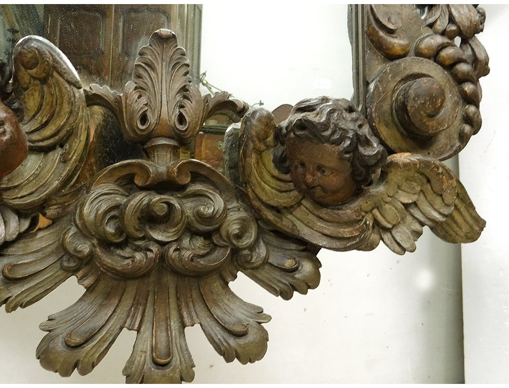 Large Ice Mirror Carved Wood Angelot Putti Crown Mirror