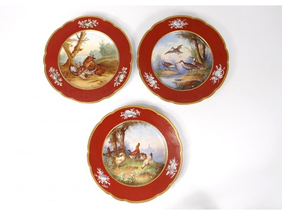 3 plates porcelain Paris Le Rosey animals fox hunting gardener XIX