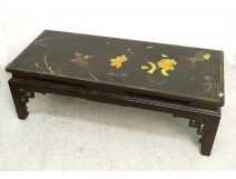 Coffee Table Japan wood lacquered birds phoenix pond water lilies panel XVIII